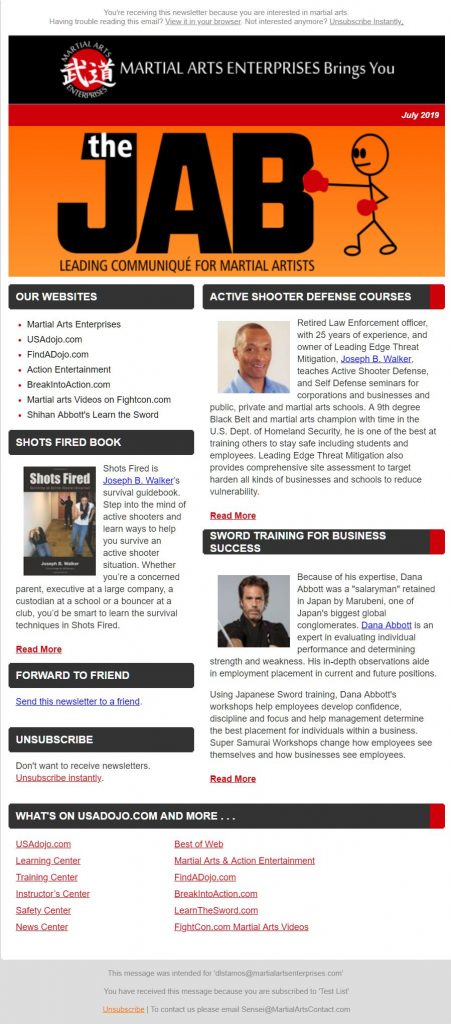 Martial Arts & Action Entertainment Newsletter